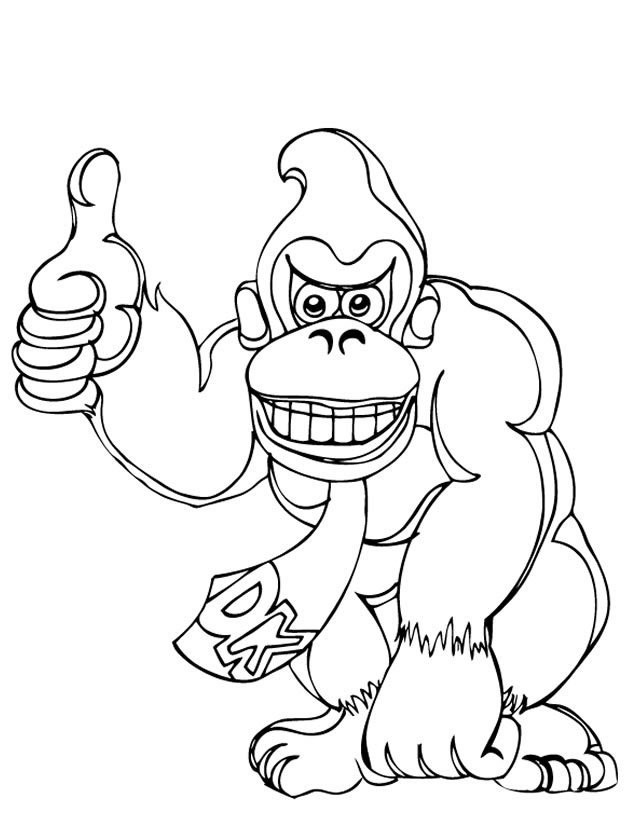 dessin à colorier de donkey kong country returns