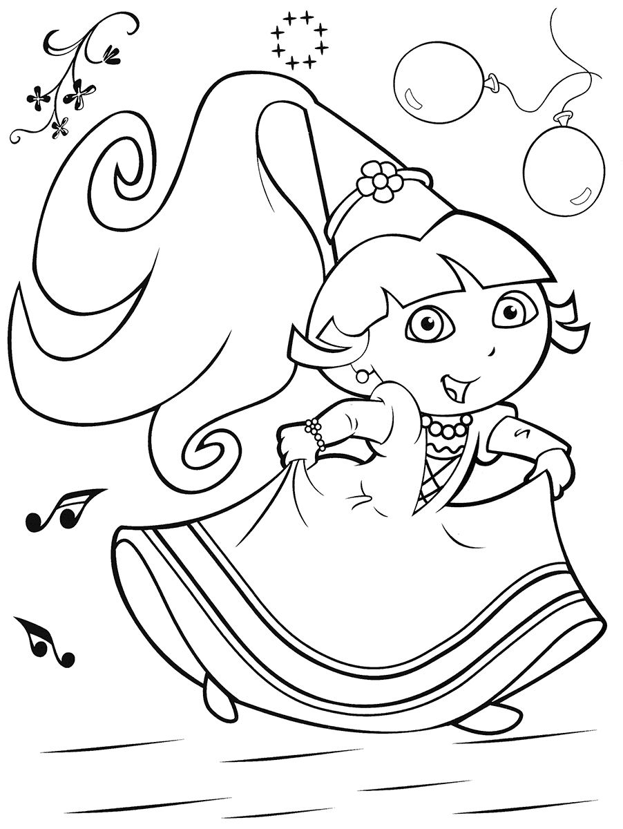 coloring pages dora princess - photo#8