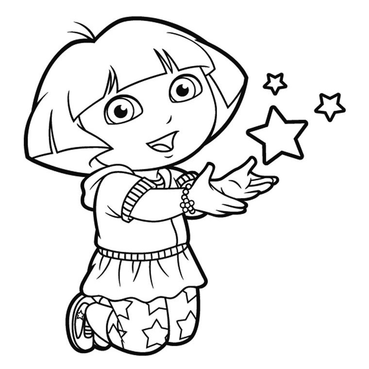 16 dessins de coloriage dora sirene imprimer for Dora black and white coloring pages