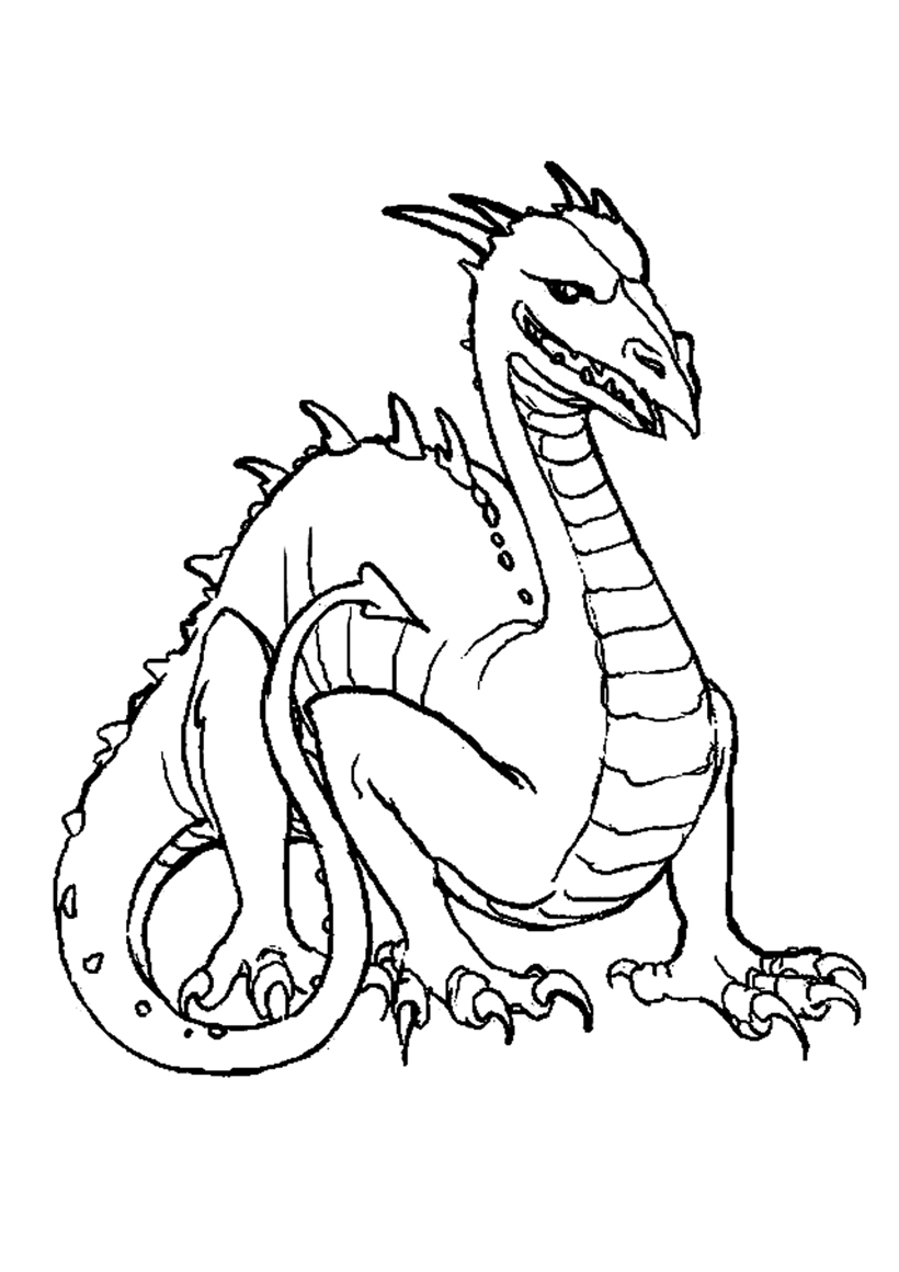 Coloriage Chevalier Dragon Chateau