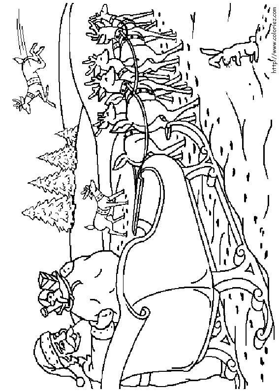 14 dessins de coloriage du p re no l dans son traineau imprimer - Coloriage pere noel a imprimer ...