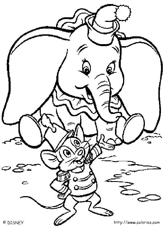 dessin à colorier dumbo en ligne
