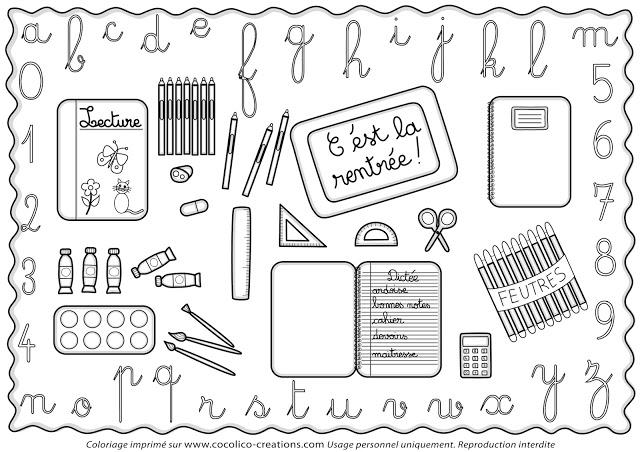 9 dessins de coloriage école Rentrée à imprimer