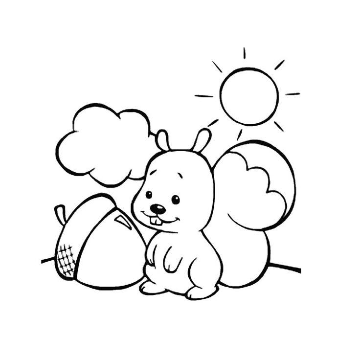 12 dessins de coloriage écureuil Automne à imprimer
