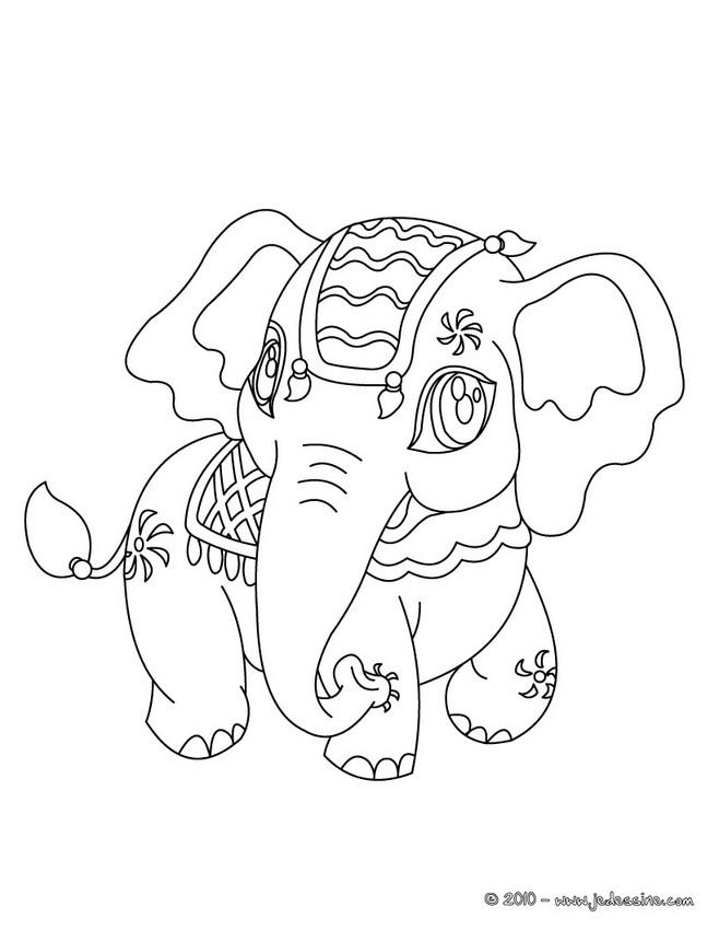 11 dessins de coloriage éléphant inde à imprimer