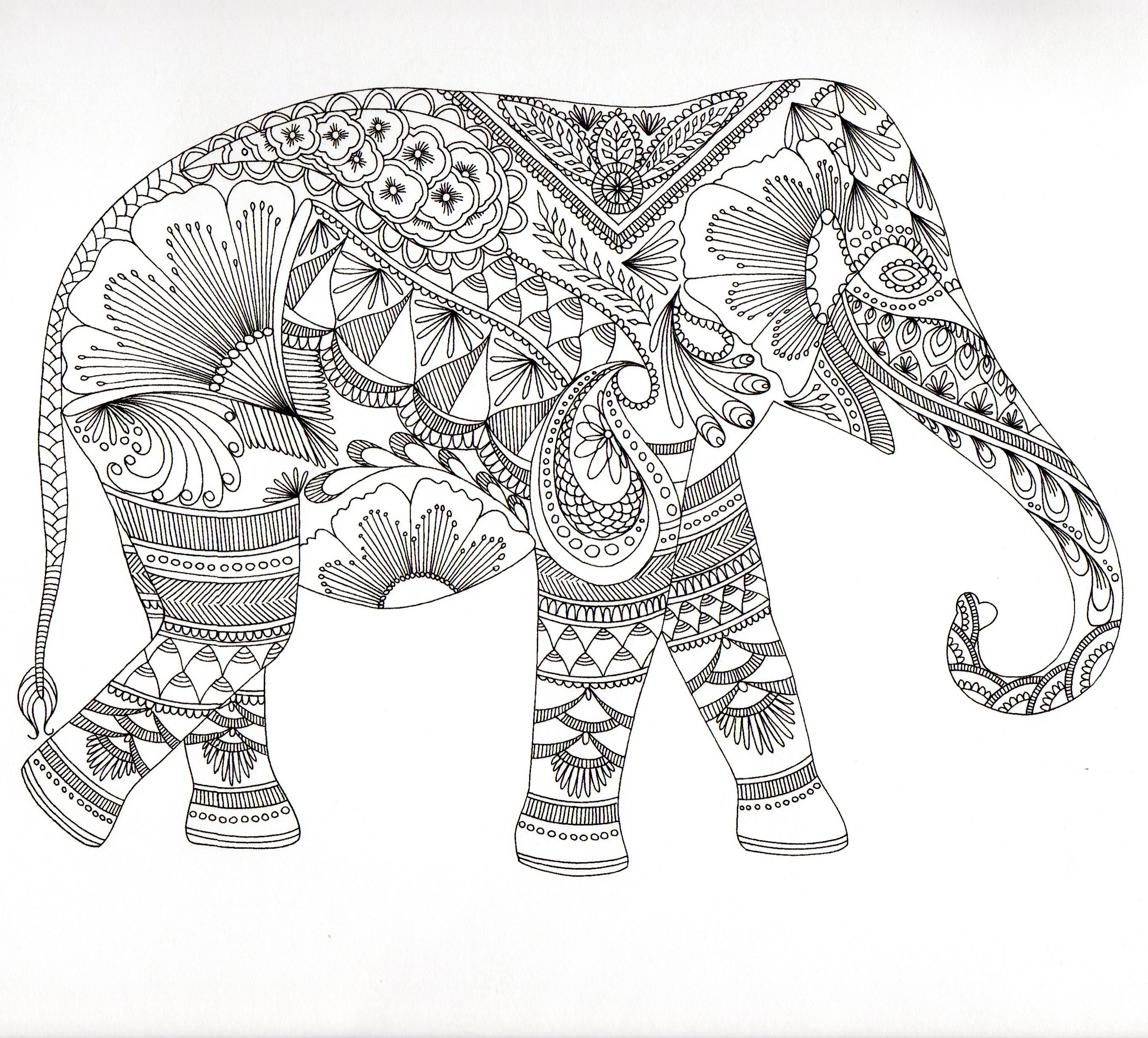 mandala elephant coloring pages easy - photo#27