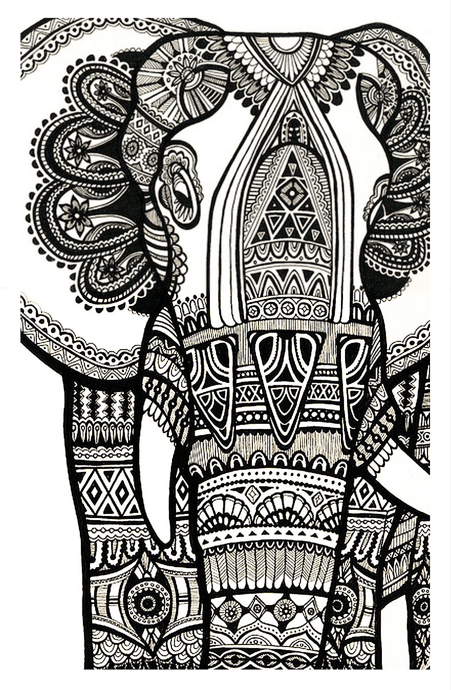 hippie elephant coloring pages - photo#21