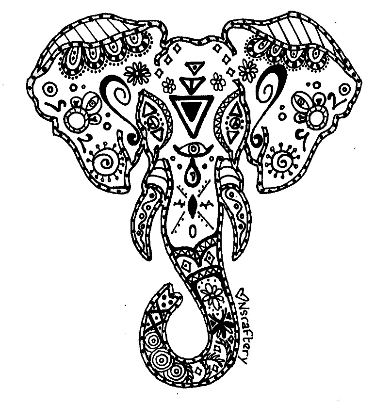 mandala elephant coloring pages easy - photo#3