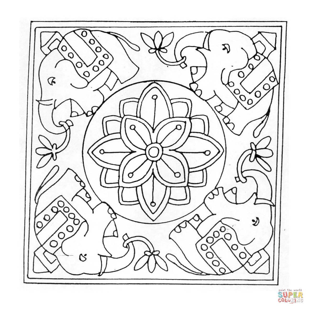 16 dessins de coloriage éléphant Mandala à imprimer