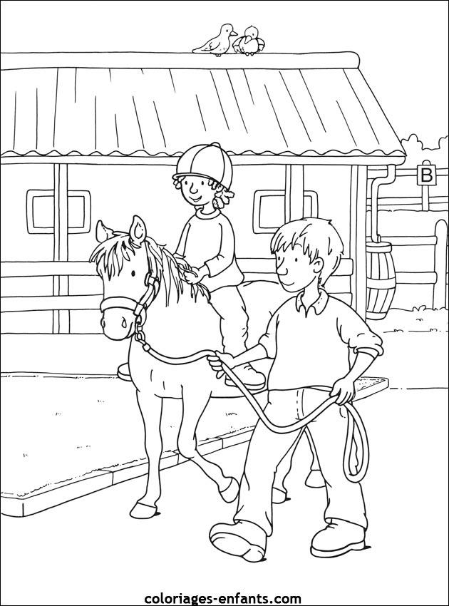dessin � colorier equitation