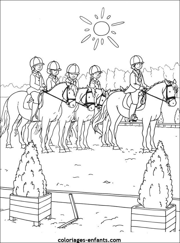 Coloriage centre equestre playmobil - Dessin cavaliere ...