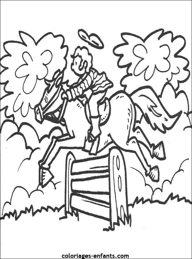 dessin à colorier centre equestre playmobil