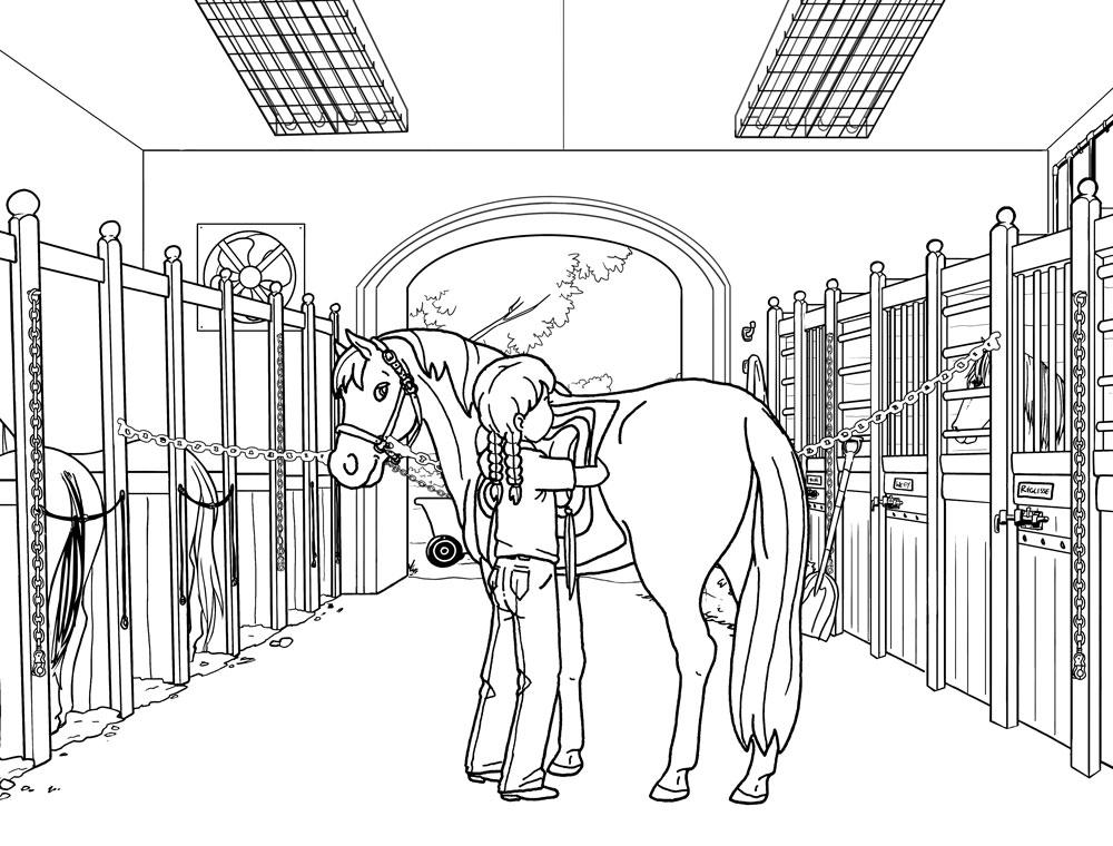 coloriage à dessiner barbie equitation