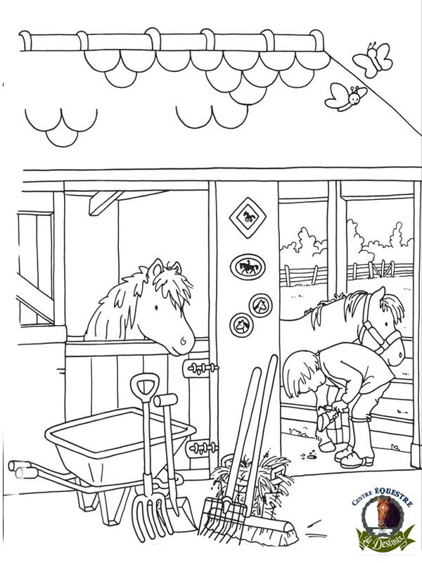 Coloriage centre equestre imprimer - Coloriage equitation ...