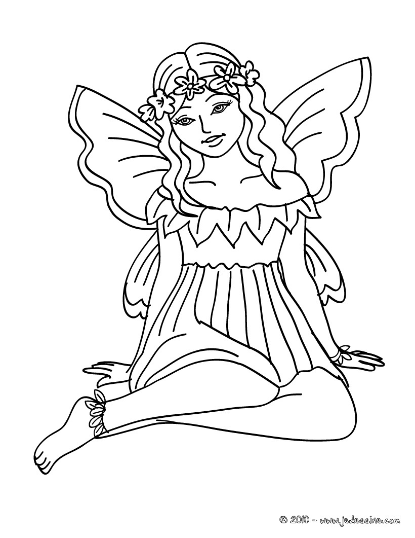 dessin à colorier fée a imprimer gratuit