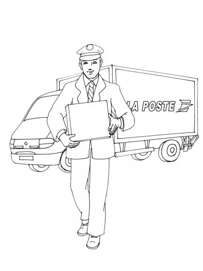 15 dessins de coloriage Facteur Poste à imprimer