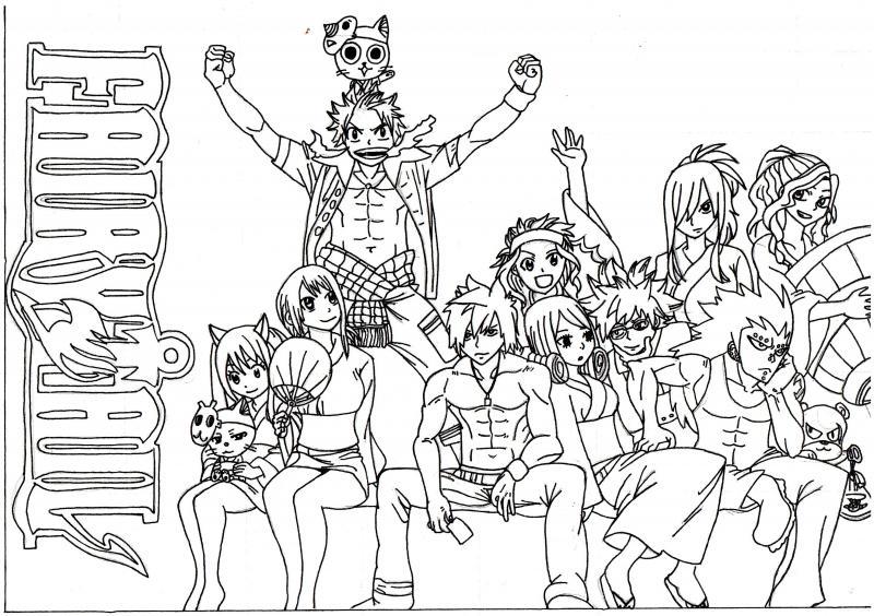 dessin à colorier fairy tail natsu et lucy