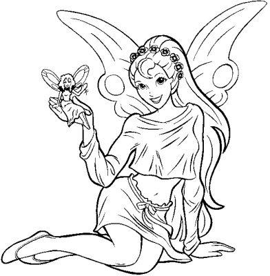 dessin à colorier de fée clochette a imprimer gratuit