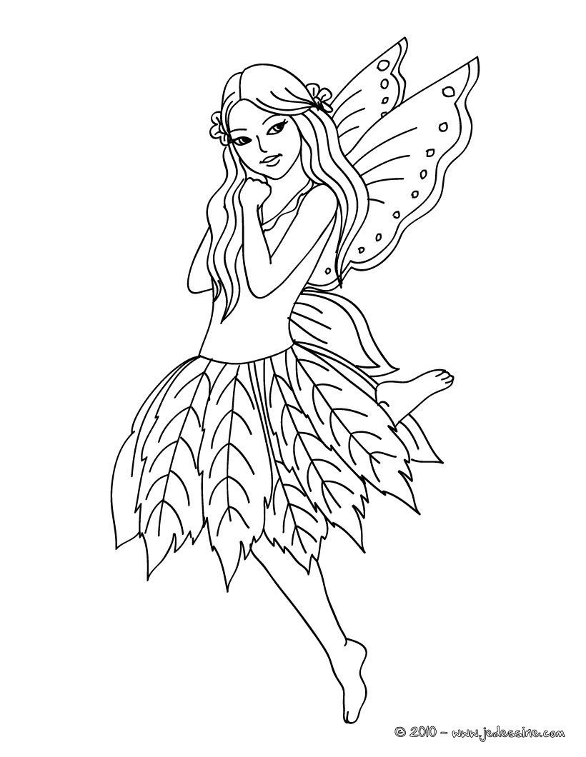 dessin à colorier de fée e n ligne gratuit