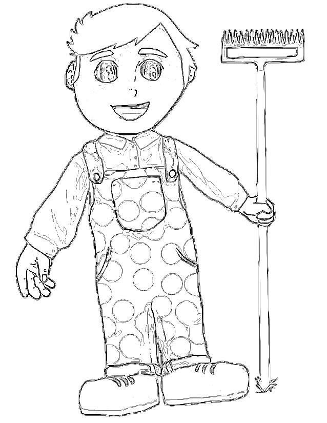 dessin à colorier fermier et fermière