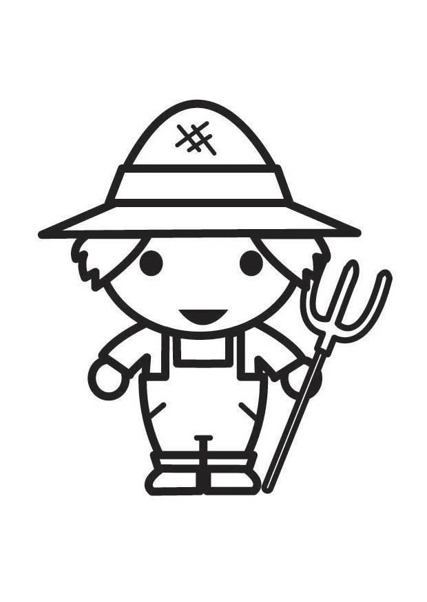 coloriage à dessiner fermier fermière