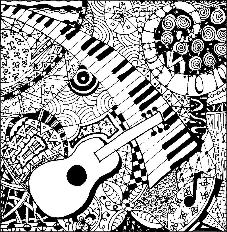 coloriage adulte musique