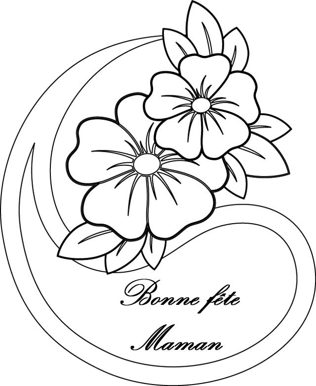 Dessin de fleurs pour la fete des meres - Coloriage de fete des meres a imprimer ...