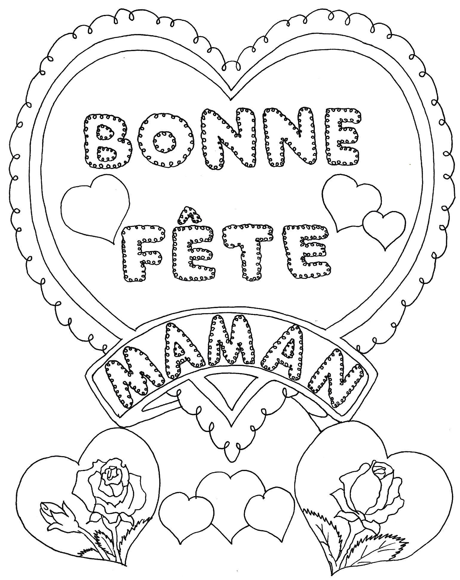 119 dessins de coloriage f te des m res imprimer - Coloriage avec des coeurs ...