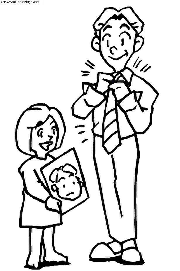 fête des pères à colorier
