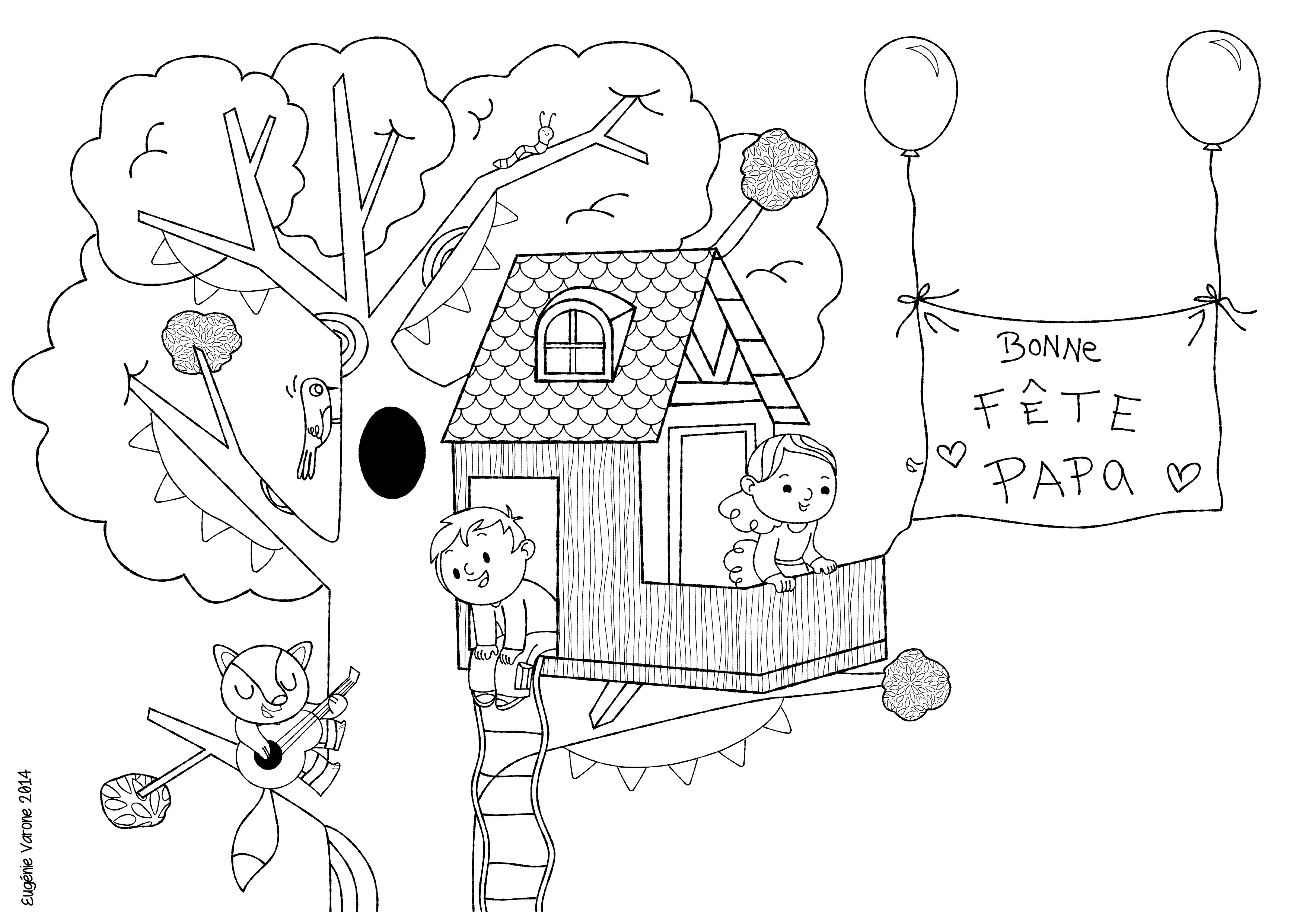 dessins fete des peres a colorier