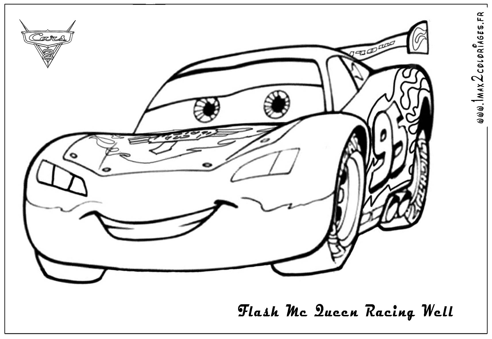 Coloriage flash mcqueen 2 gratuit - Jeu gratuit cars flash mcqueen ...