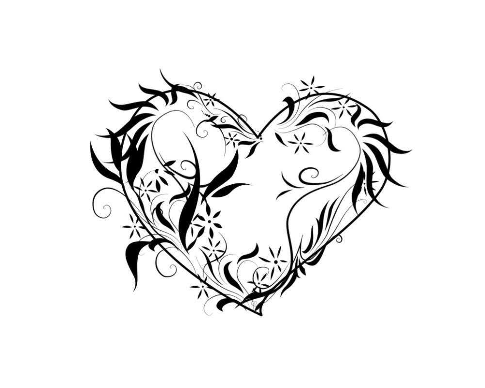 88 dessins de coloriage fleur coeur imprimer - Dessin de fleur en noir et blanc ...
