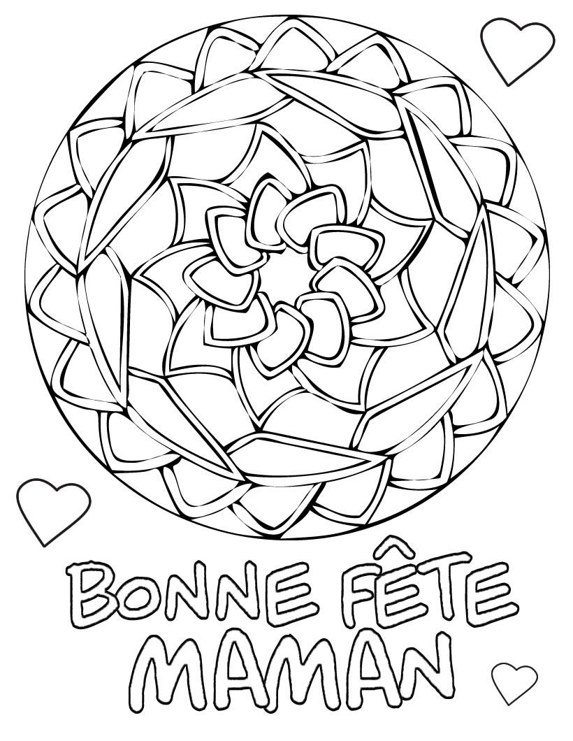 97 dessins de coloriage fleur fete des meres imprimer - Bonne fete maman dessin ...