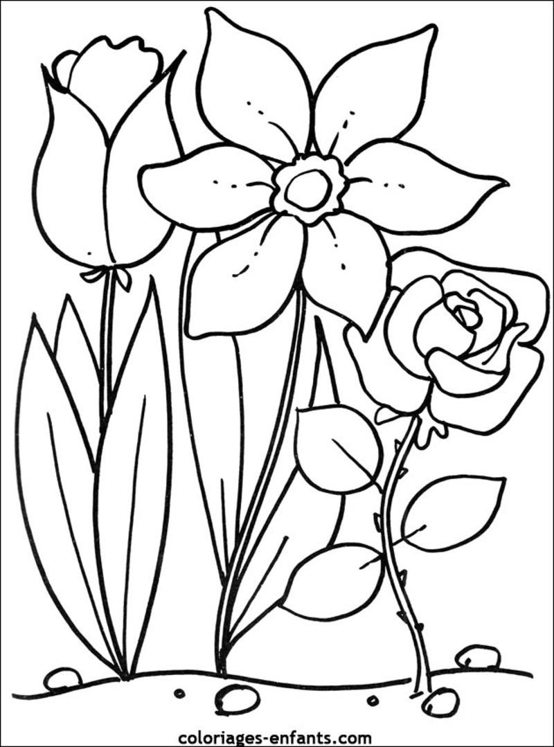 dessin à colorier en fleur