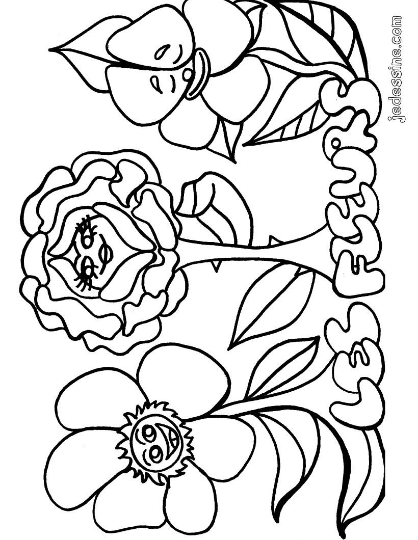 Coloriage Fleur Et Coeur.Dessin A Colorier Fleur Et Coeur A Imprimer