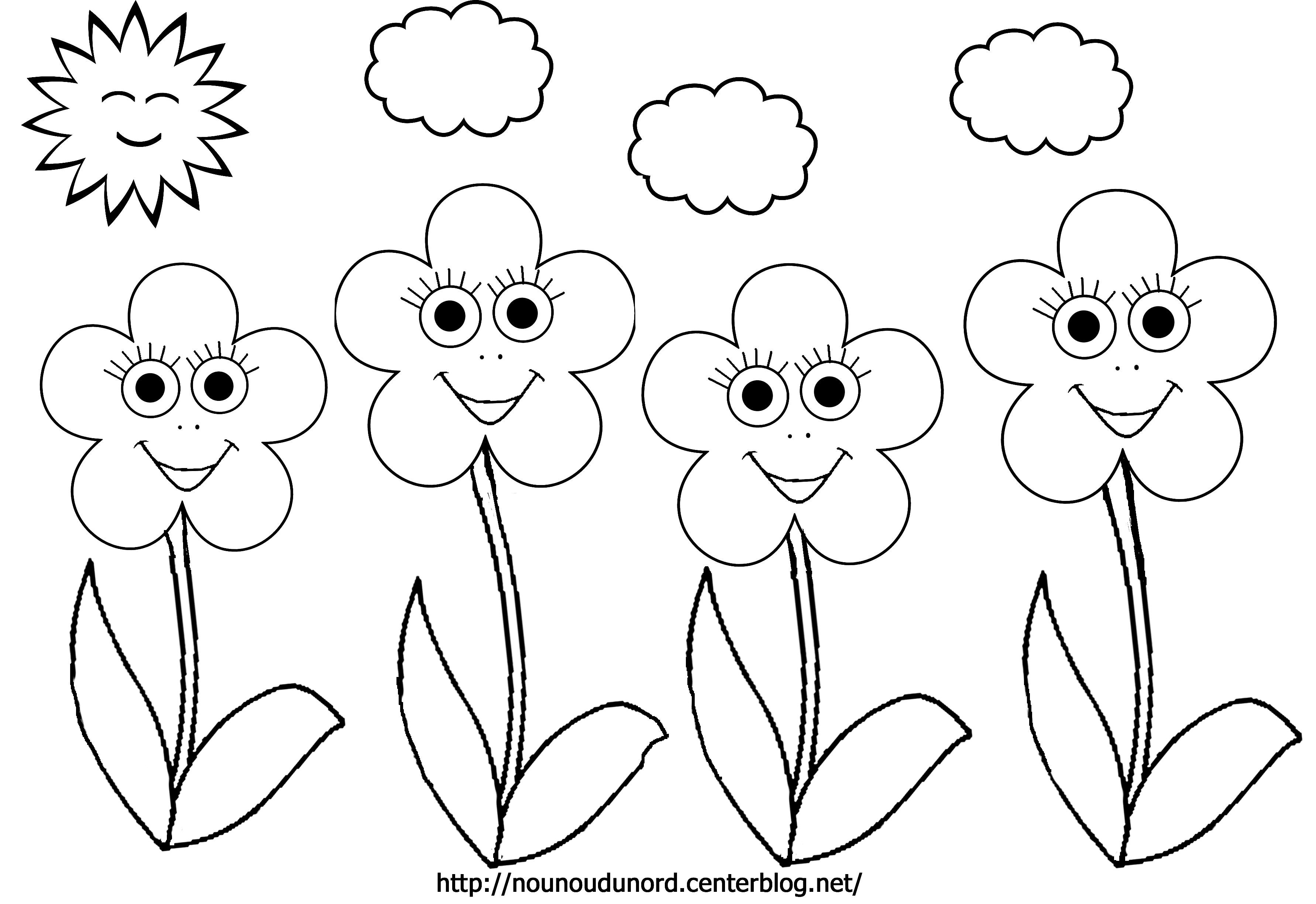 coloriage à dessiner fleurs en maternelle