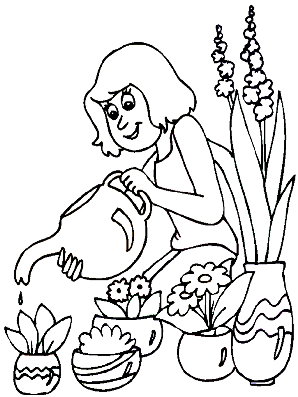 Coloriage fleuriste - Fleuriste dessin ...