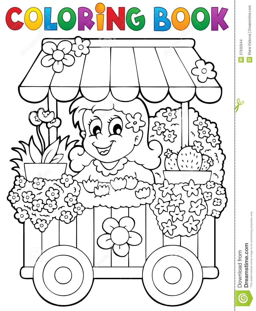 dessin à colorier de fleuriste