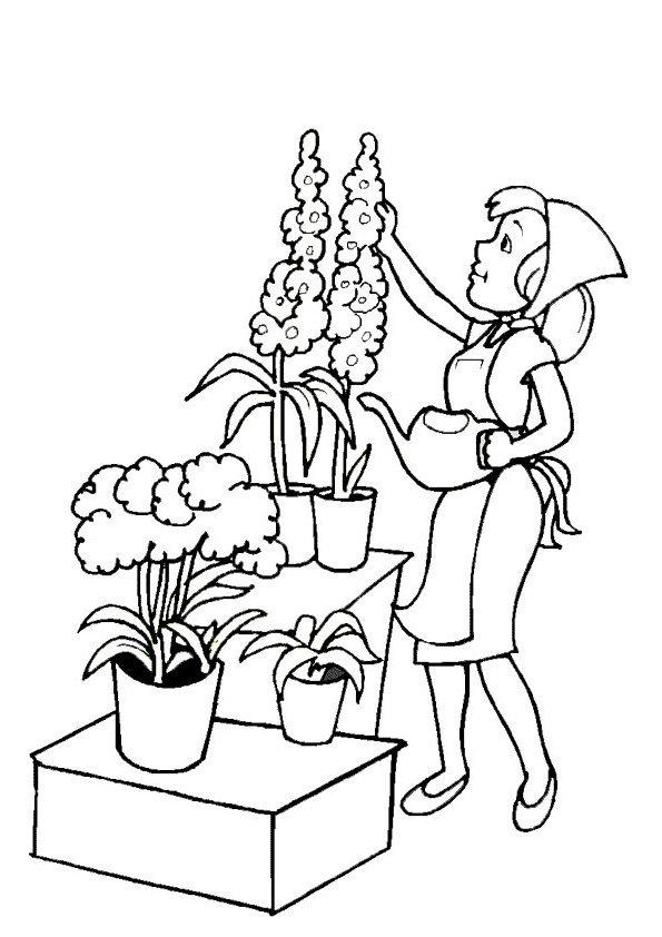 dessin à colorier imprimer fleuriste