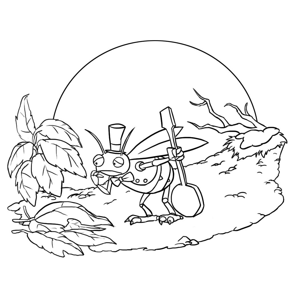 Coloriage la cigale et la fourmi facile - Dessin de cigale ...
