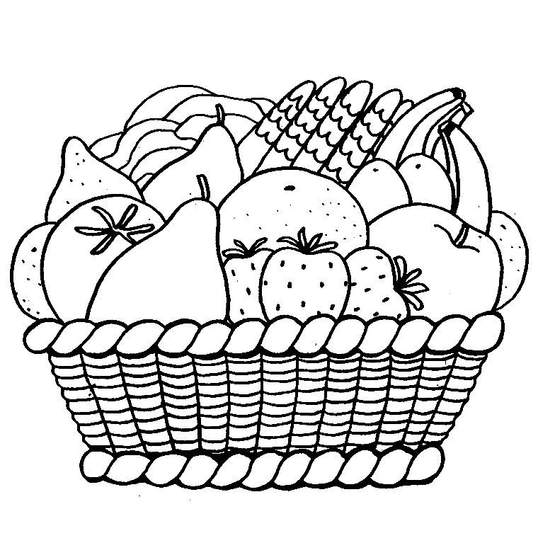 Раскраска фрукты в корзинке
