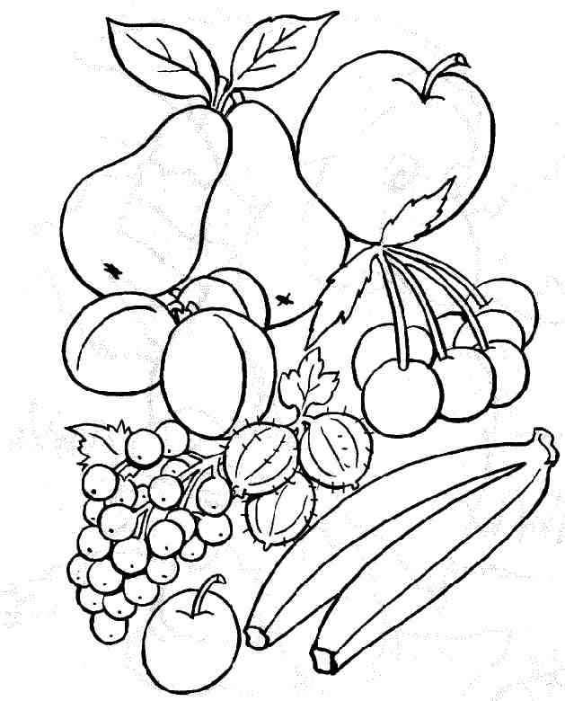 dessin à colorier fruits exotiques