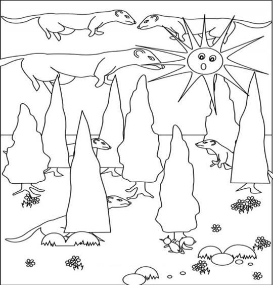 dessin à colorier de bébé furet