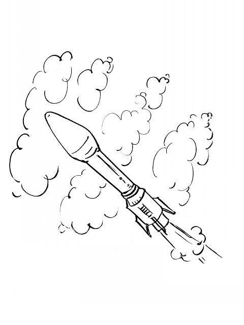 coloriage à dessiner de fusée
