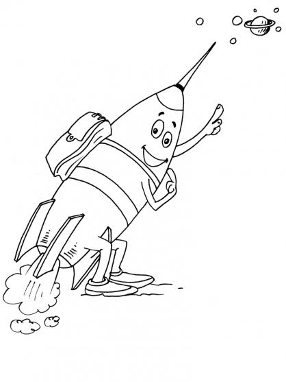 dessin à colorier fusée