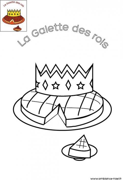 coloriage galette des rois couronne