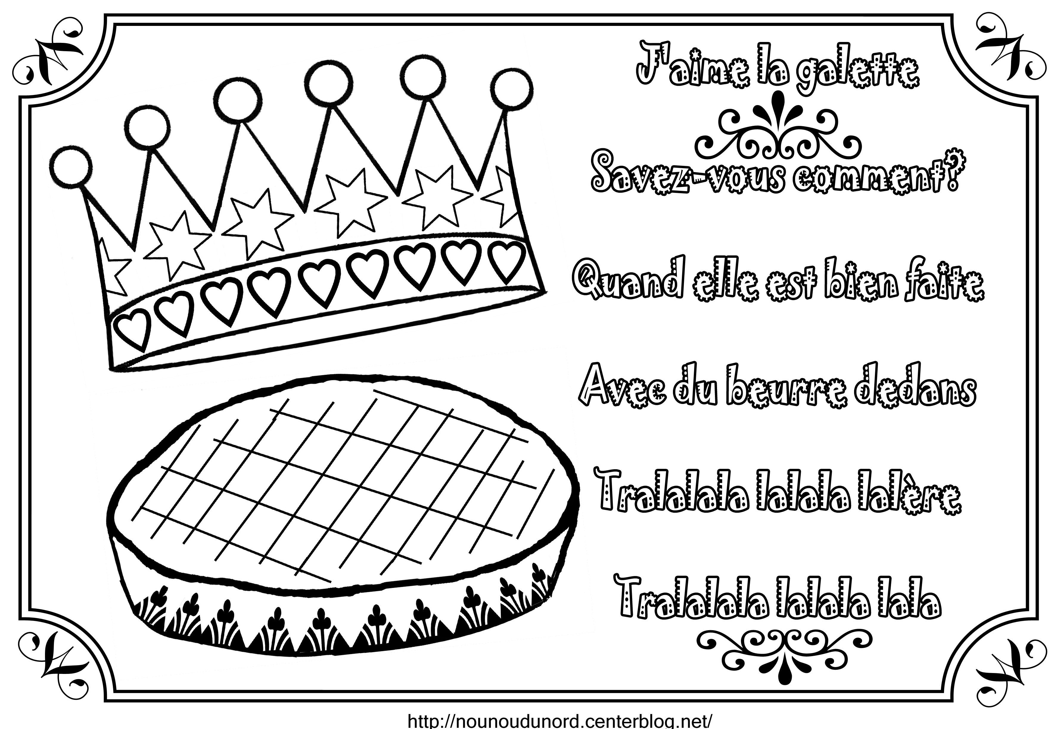 dessin galette des rois et couronne