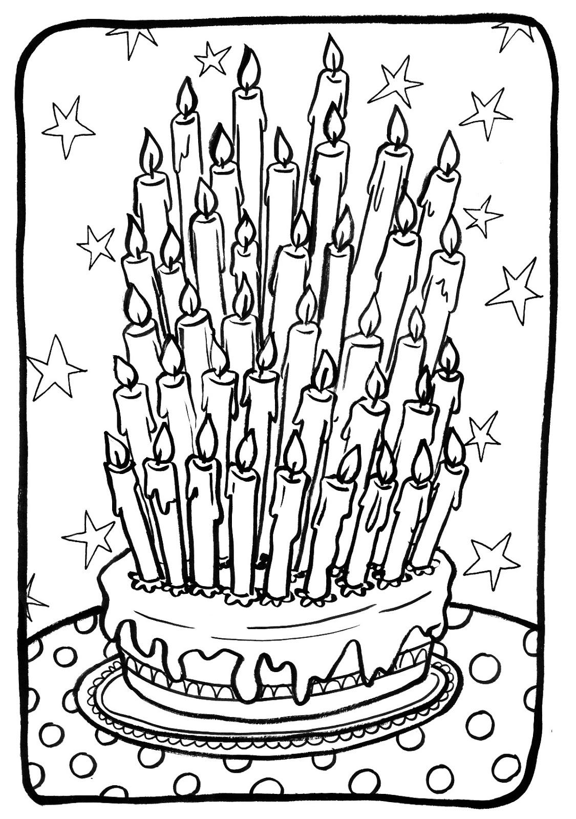 coloriage à dessiner gateau d'anniversaire 36 ans