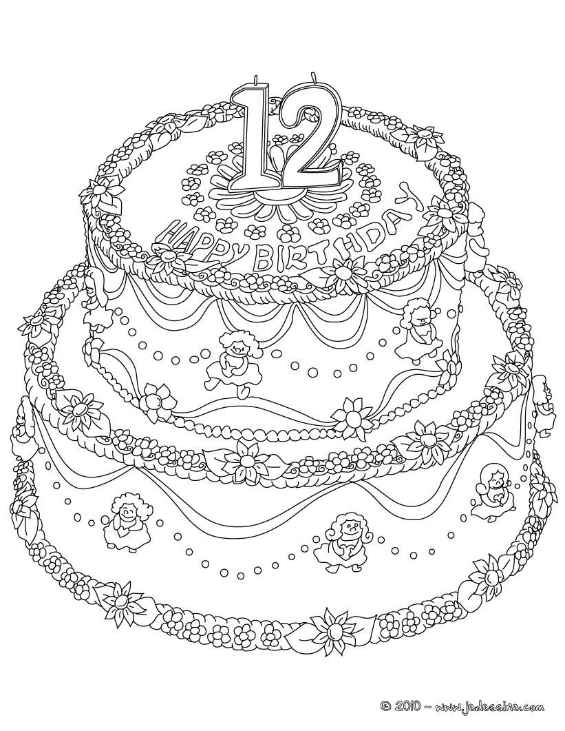 coloriage gateau anniversaire sans bougie