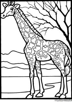 dessin à colorier girafe rigolote a imprimer gratuit